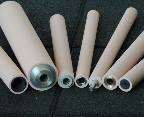 Rubber and polyurethane coating rolls